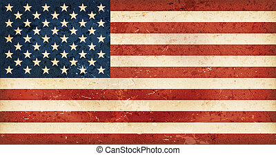 USA flag with grunge elements - Vintage style flag of the...