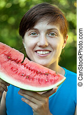 woman  with  fresh watermelon