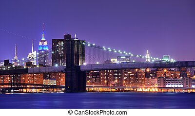 Brooklyn Bridge and famed skyscrapers in New York City