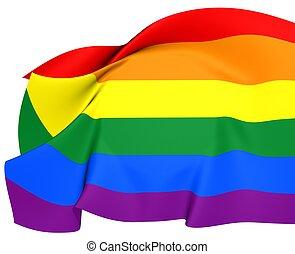 LGBT Flag. Close Up. 3D.