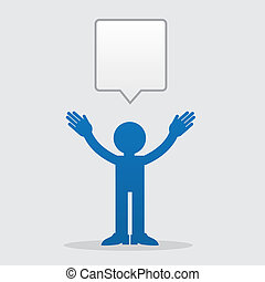 Figure Speech Bubble - Silhouette figure talking with speech...