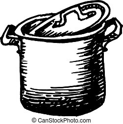 saucepan - hand drawn, sketch, vector illustration of...