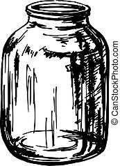glass jar - hand drawn, sketch, vector illustration of glass...