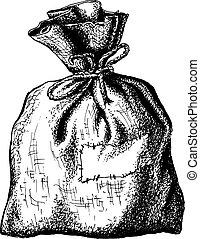 old sack - hand drawn, sketch, vector illustration of sack