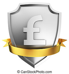 Pound shield - Steel pound symbol shield with golden ribbon...