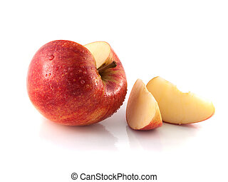 Isolated sliced red apple with two slices wet Fresh diet...