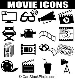 Movie icons set on white background, vector illustration