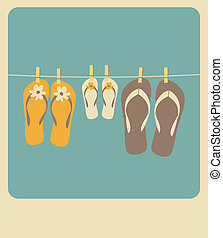Summer Family Vacation - Illustration of three pairs of flip...