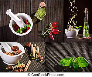 Collage of spices in mortar