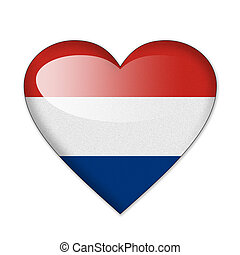 Netherlands flag in heart shape isolated on white background