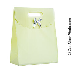 a paper bag with bow