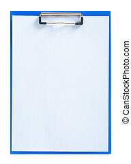 blue clipboard with sheet of paper