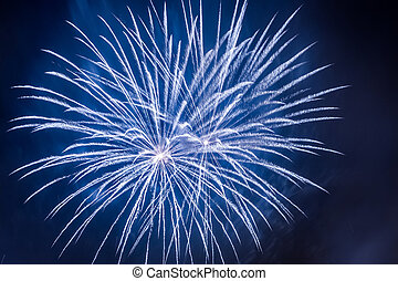 Blue fireworks during the celebrations event at night - Blue...