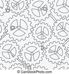white cogwheel seamless pattern