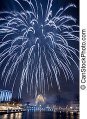 grande, Espetacular, fogos artifício, sobre, Rio,...