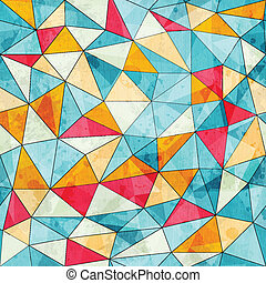 vintage colored triangles seamless pattern with grunge...