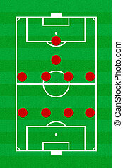 Soccer field layout with formation 4-4-1-1