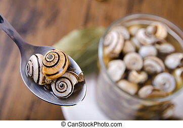 Snails and spoon - Snails and spoon on wood tabel