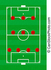Soccer field layout with formation 4-3-3