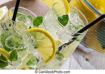 citron, boisson, glace, menthe, feuille