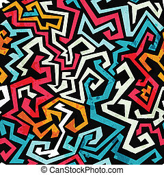 graffiti curves seamless pattern with grunge effect
