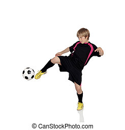 Preteen playing soccer isolated on a white background
