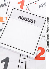 August - Blank Calendar, August, close up for background