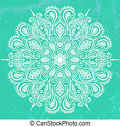 Vector illustration of mandala design in white on aqua green...
