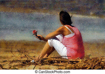 Pink Lady with Rose on Beach Pastels - Pink Woman with Rose...