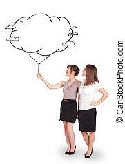 Young ladies holding cloud balloon drawing