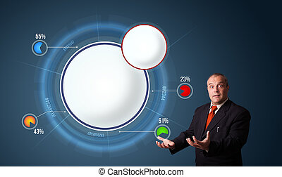 businessman in suit presenting abstract modern pie chart...