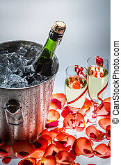 Cold champagne on New Year holiday