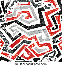 abstract grunge red curved lines seamless pattern