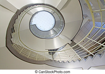 with the modern breath stair rotates in a building in...