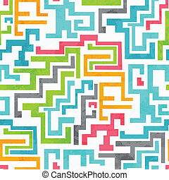 abstract colored geometric seamless pattern with grunge...