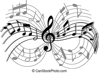 Abstract musical composition with music elements and notes
