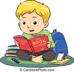 Reading A Book - A boy sitting and reading a book Vector...