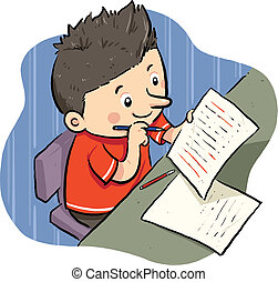 Doing Homework - A boy doing his homework. Vector EPS8 file.