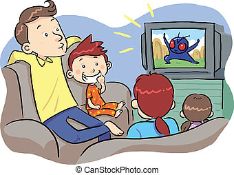 Watching TV With Family - A family watching TV show. Vector...