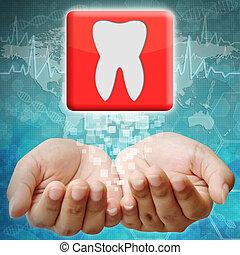dente, ícone, mão, médico, fundo
