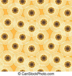 White poppy field. 1950s vintage vector pattern.