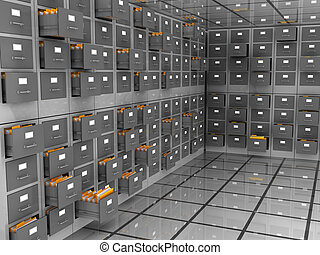 archive room - abstract 3d illustration of data storage room