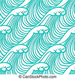 Linear pattern in tropical aqua blue with waves - Simple,...