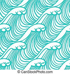 lineal, patrón, tropical, agua, azul, ondas