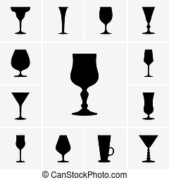 Set of wine glasses icons