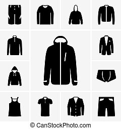 Set of man clothes icons part 2