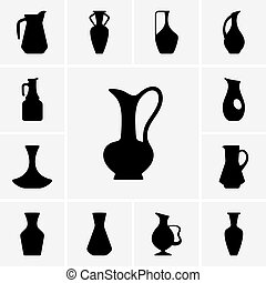 Set of jug silhouettes