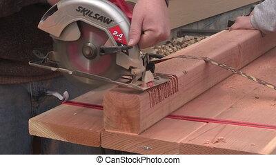 Man sawing close up