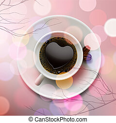 White coffee cup with heart shape made of foam on pink blur background