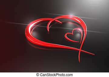 Love  signs on black background